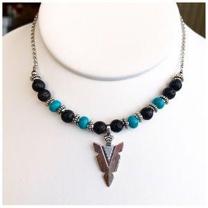 Lava rock & turquoise boho silver arrow choker